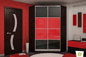 Угловой шкаф-купе Оптим с фасадом из цветного стекла - Мебельная фабрика «Е1»