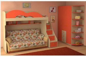 Уютная оранжевая детская с кроватью-чердаком - Мебельная фабрика «Интерьер»