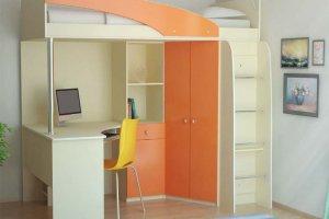 Высокая кровать-чердак с рабочим местом и шкафом - Мебельная фабрика «Интерьер»