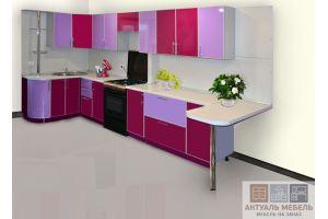 Яркая кухня с барной стойкой - Мебельная фабрика «Актуаль-М»