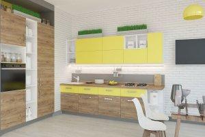 Яркая прямая кухня - Мебельная фабрика «Акварель»