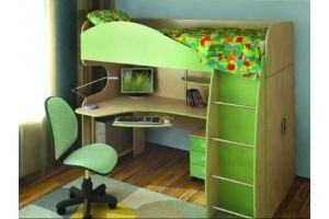 Зеленая кровать-чердак 2 - Мебельная фабрика «Вертикаль»
