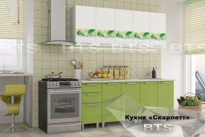 Зеленая кухня с рисунком Скарлетт - Мебельная фабрика «BTS»