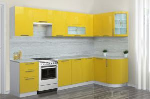 Желтая угловая кухня Престиж - Мебельная фабрика «Боровичи-мебель»