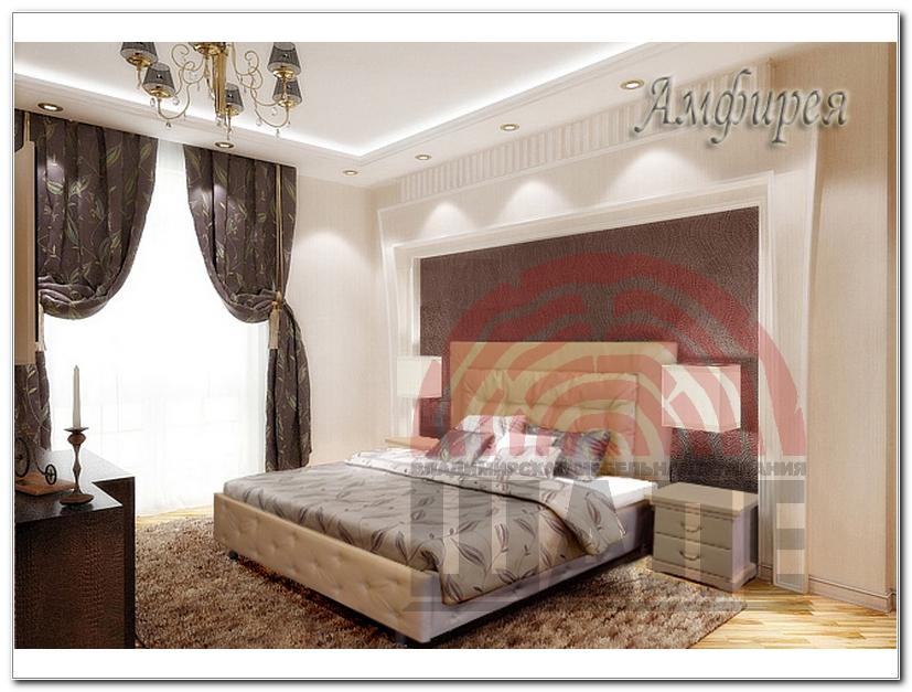 Интерьер спальни с кожаной кроватью фото